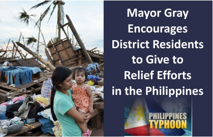 Mayor Gray encourages District residents to give to relief efforts in the Philippines