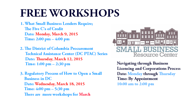 Small Business Resource Center - Free Workshops - March 2015