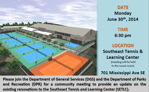 Southeast Tennis and Learning Center (SETLC) Community Meeting June 30 2014 (Download an accessible version, below)
