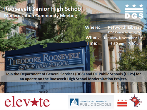 Roosevelt SHS Modernization Community Meeting flyer