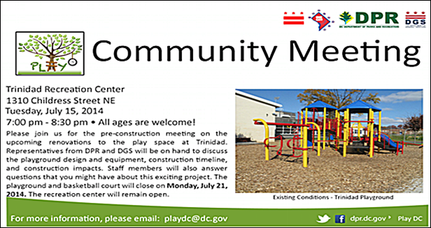 Trinidad Play DC Playground Community Meeting - Pre-construction Update July 15, 2014
