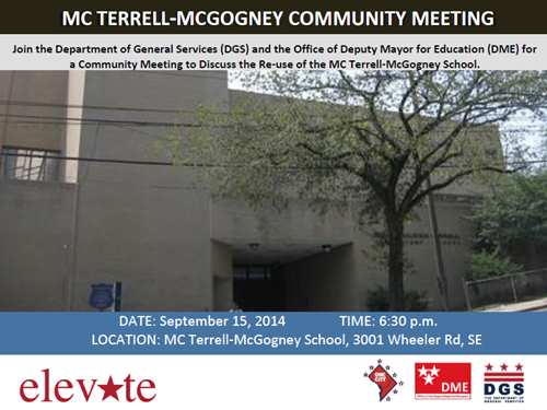MC Terrell-McGogney School Re-use Community Meeting Flyer - September 15, 2014 at 6:30 pm (Download an accessible version, below)