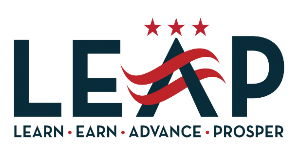 L.E.A.P. (Learn, Earn, Advance, Prosper) logo