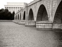 Black and white photo of one of DC's bridges across the Potomac