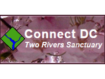 text Connect DC Two Rivers Sanctuary with District diamond and cherry blossoms